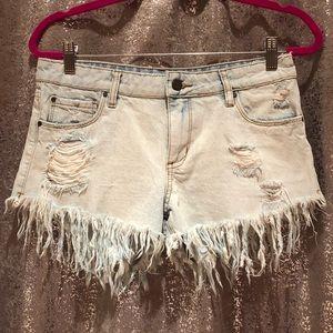 Nordstrom BP light wash frayed fringe denim shorts